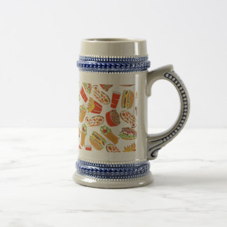 Colorful Pattern Illustration Fast Food Beer Stein