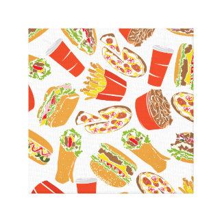 Colorful Pattern Illustration Fast Food Canvas Print
