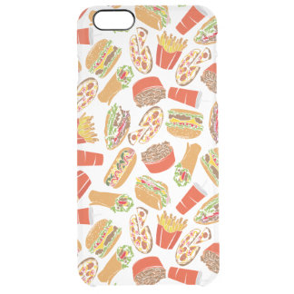 Colorful Pattern Illustration Fast Food Clear iPhone 6 Plus Case