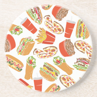 Colorful Pattern Illustration Fast Food Coaster
