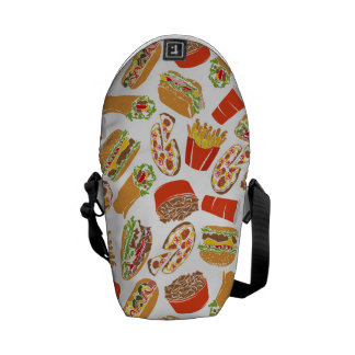 Colorful Pattern Illustration Fast Food Commuter Bag
