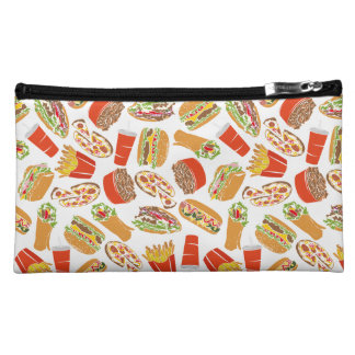 Colorful Pattern Illustration Fast Food Cosmetic Bag