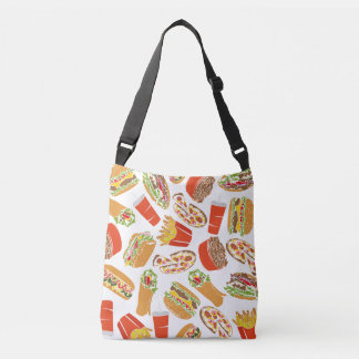 Colorful Pattern Illustration Fast Food Crossbody Bag