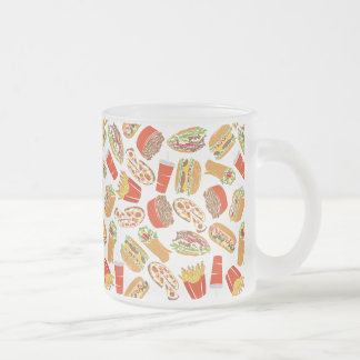 Colorful Pattern Illustration Fast Food Frosted Glass Coffee Mug