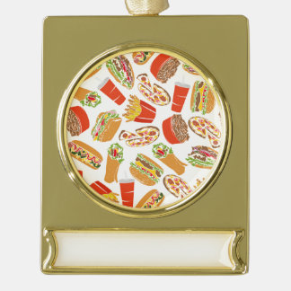 Colorful Pattern Illustration Fast Food Gold Plated Banner Ornament