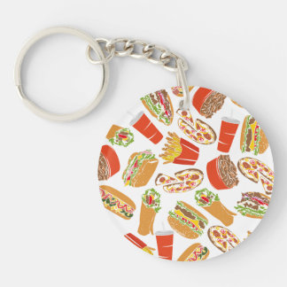 Colorful Pattern Illustration Fast Food Key Ring