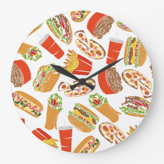 Colorful Pattern Illustration Fast Food Large Clock