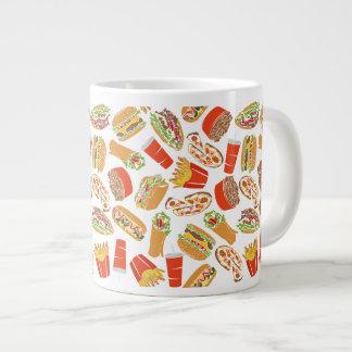 Colorful Pattern Illustration Fast Food Large Coffee Mug