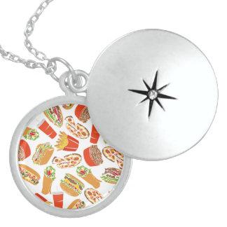 Colorful Pattern Illustration Fast Food Locket Necklace