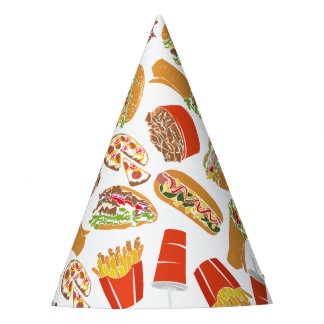 Colorful Pattern Illustration Fast Food Party Hat