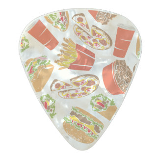Colorful Pattern Illustration Fast Food Pearl Celluloid Guitar Pick