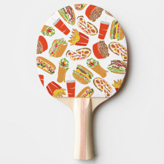 Colorful Pattern Illustration Fast Food Ping Pong Paddle