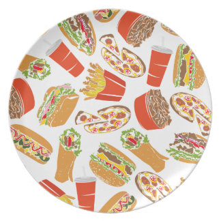 Colorful Pattern Illustration Fast Food Plate