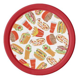 Colorful Pattern Illustration Fast Food Poker Chips