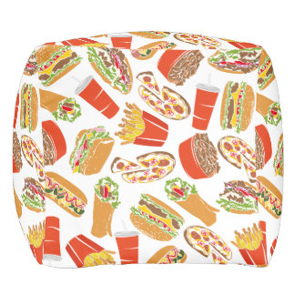 Colorful Pattern Illustration Fast Food Pouf