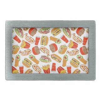 Colorful Pattern Illustration Fast Food Rectangular Belt Buckles