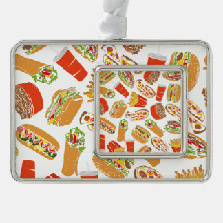 Colorful Pattern Illustration Fast Food Silver Plated Framed Ornament
