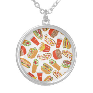 Colorful Pattern Illustration Fast Food Silver Plated Necklace