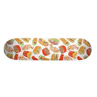 Colorful Pattern Illustration Fast Food Skateboard