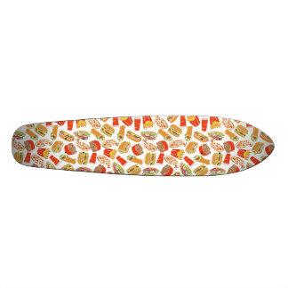 Colorful Pattern Illustration Fast Food Skateboard Deck