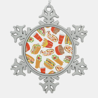 Colorful Pattern Illustration Fast Food Snowflake Pewter Christmas Ornament