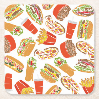 Colorful Pattern Illustration Fast Food Square Paper Coaster