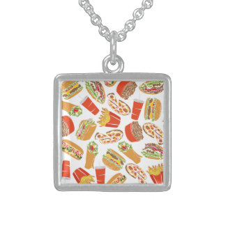 Colorful Pattern Illustration Fast Food Sterling Silver Necklace