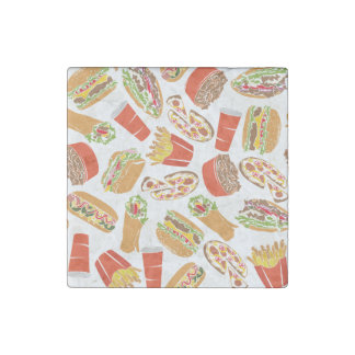 Colorful Pattern Illustration Fast Food Stone Magnet