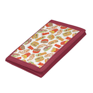 Colorful Pattern Illustration Fast Food Tri-fold Wallet