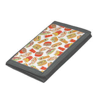 Colorful Pattern Illustration Fast Food Tri-fold Wallets