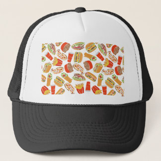 Colorful Pattern Illustration Fast Food Trucker Hat