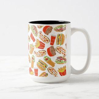 Colorful Pattern Illustration Fast Food Two-Tone Coffee Mug
