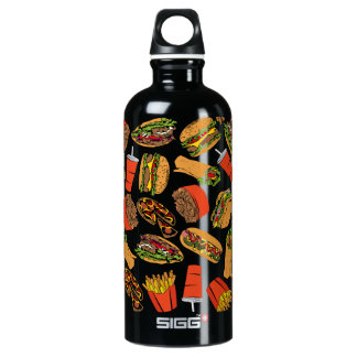 Colorful Pattern Illustration Fast Food Water Bottle