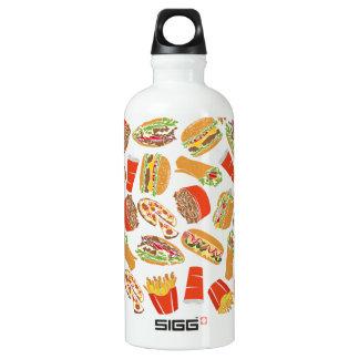 Colorful Pattern Illustration Fast Food Water Bottle