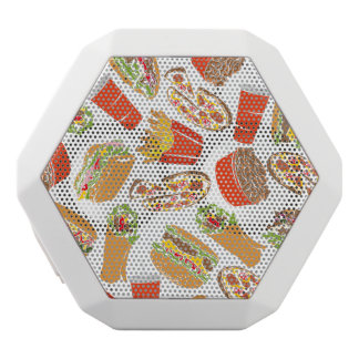 Colorful Pattern Illustration Fast Food White Bluetooth Speaker