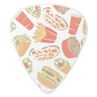 Colorful Pattern Illustration Fast Food White Delrin Guitar Pick