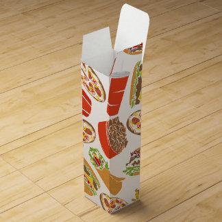 Colorful Pattern Illustration Fast Food Wine Box