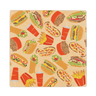 Colorful Pattern Illustration Fast Food Wood Coaster