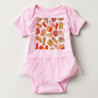 Colorful Pattern illustration nearly Food Baby Bodysuit
