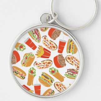 Colorful Pattern illustration nearly Food Key Ring