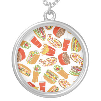 Colorful Pattern illustration nearly Food Silver Plated Necklace