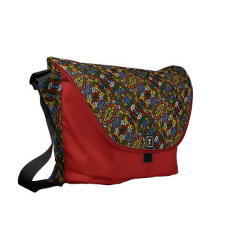 Colorful Pattern On Red Courier Bag
