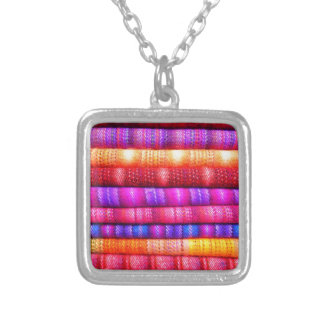 Colorful pattern silver plated necklace