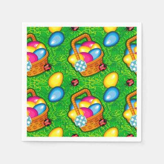 Colorful pattern with Easter basket Disposable Napkins