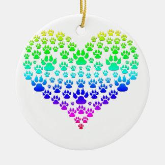 colorful paw heart ceramic ornament