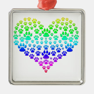 colorful paw heart metal ornament