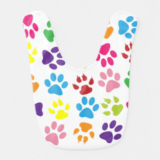 Colorful Paw Print Baby Bib