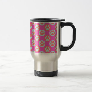 Colorful Paw Print Polka Dot Pattern Travel Mug