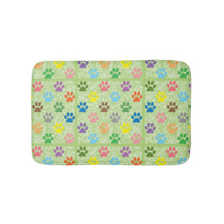 Colorful paw prints bath mat