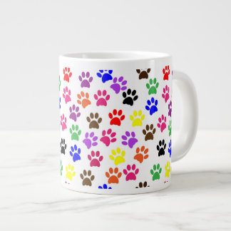 Colorful Paw Prints Jumbo Mug